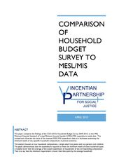Comparison of the Household Budget Survey to MIS/MESL Data